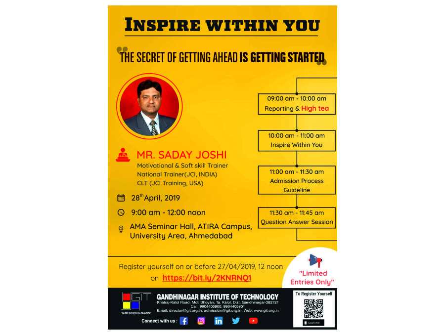 Inspire Within You: Seminar – Gandhinagar Institute Of Technology